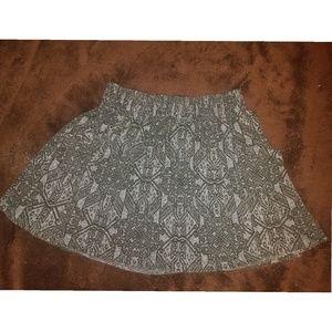 Grey patterned skater skirt